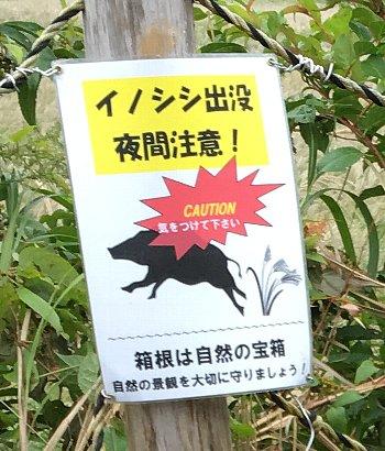 箱根ススキ草原の注意看板