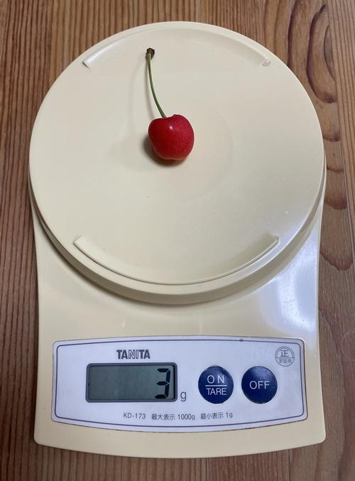 小さめのさくらんぼの粒の重さ