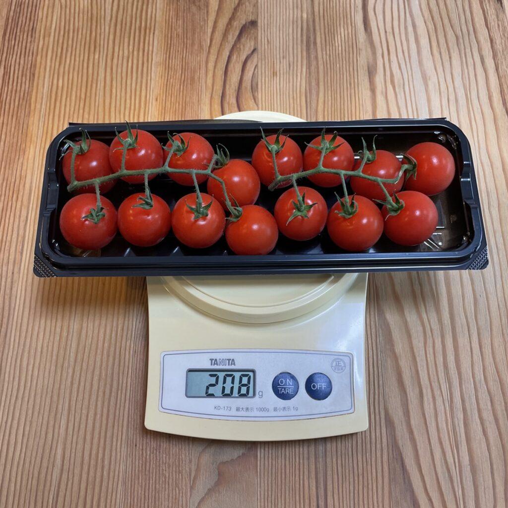 プチトマトの重さをはかる