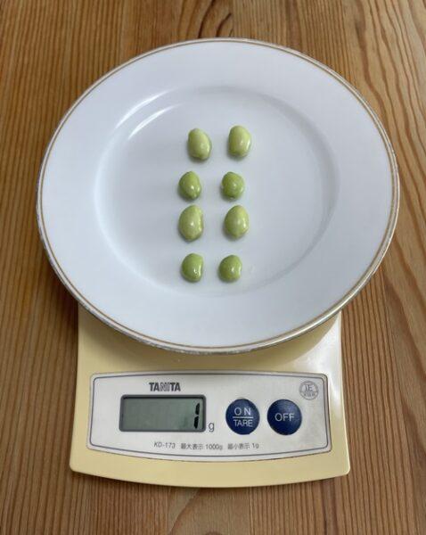 枝豆の中身8粒の重さ