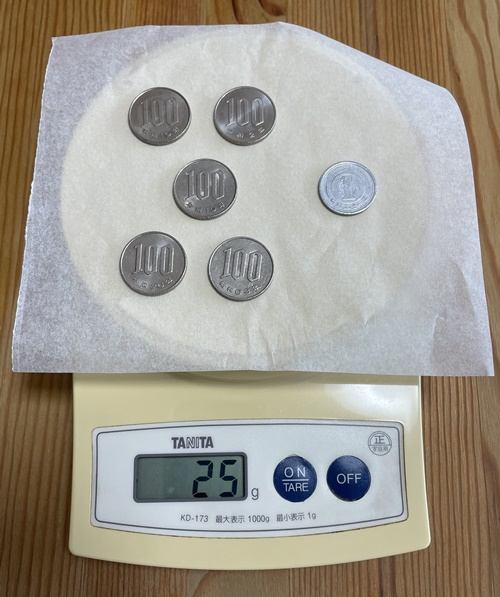 硬貨501円分で25g