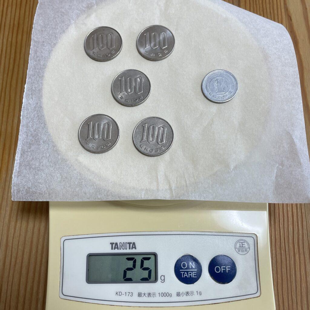 25g分の硬貨
