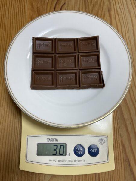 森永のミルクチョコレート30g分