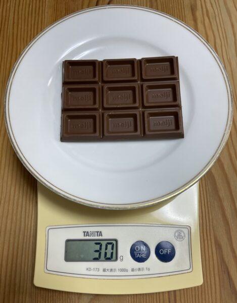 明治のミルクチョコレート30g分