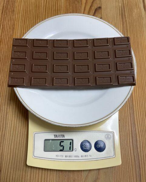 ロッテのガーナ板チョコ1枚の重さ