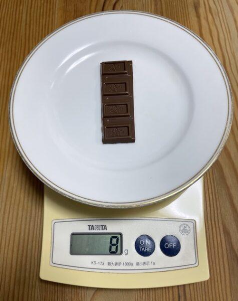 ロッテの板チョコ4ブロック分の重さ