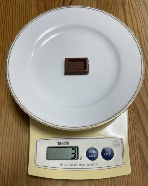 明治板チョコ1かけら分の重さ