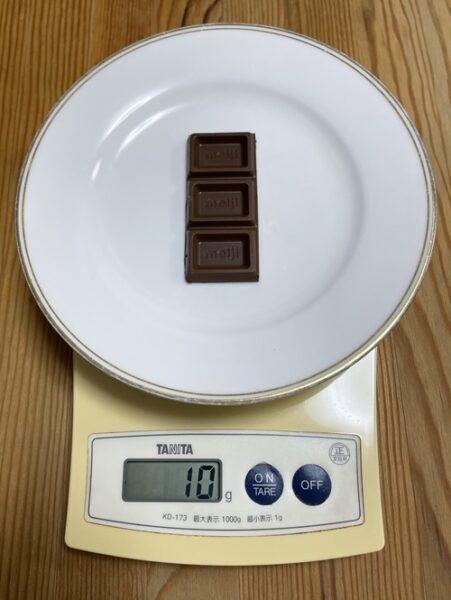 明治板チョコ3ブロック分の重さ