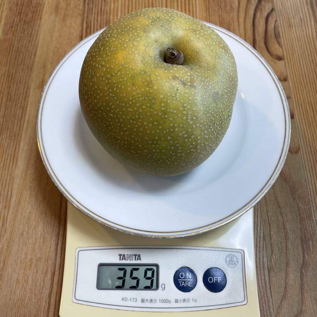 梨1個の重さをはかる