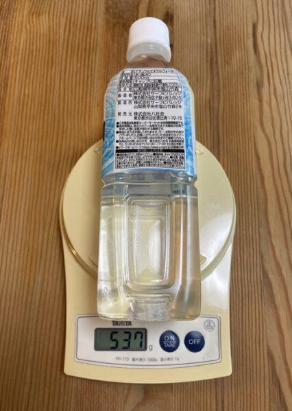 500mlのペットボトルの重さ